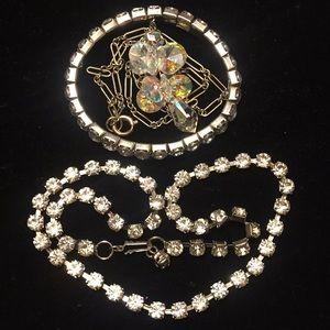 Vintage 3-piece rhinestone necklaces and bracelet